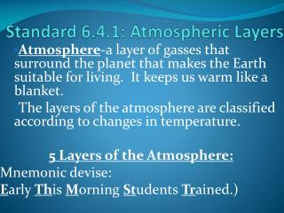 Standard 6.4.1: Atmospheric Layers