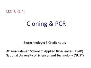 Cloning & PCR