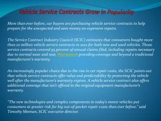Vehicle Service Contracts Grow in Popularity