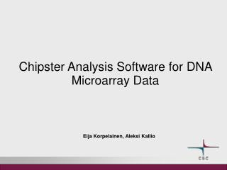 Chipster Analysis Software for DNA Microarray Data