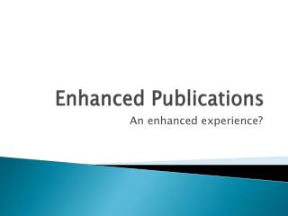 Enhanced Publications