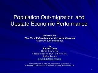 Population Out-migration and  Upstate Economic Performance