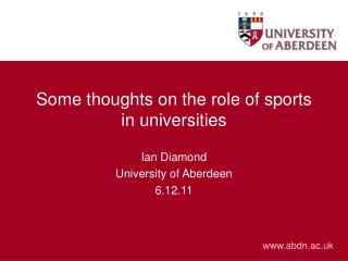 Some thoughts on the role of sports in universities