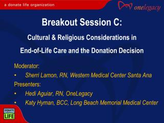 Moderator: Sherri Lamon, RN, Western Medical Center Santa Ana Presenters: