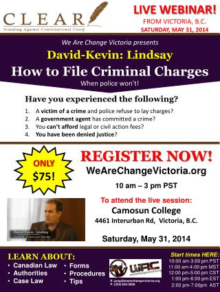 David-Kevin: Lindsay How to File Criminal Charges When police won't!
