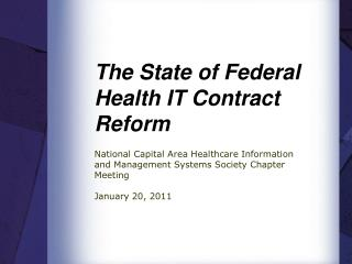The State of Federal Health IT Contract Reform