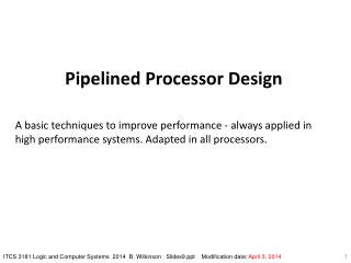 Pipelined Processor Design