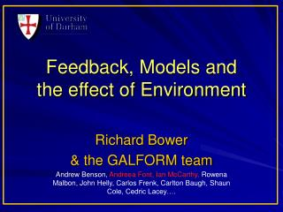 Feedback, Models and  the effect of Environment
