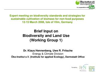 Dr. Klaus Hennenberg, Uwe R. Fritsche Energy & Climate Division