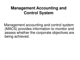 Management Accounting and Control System