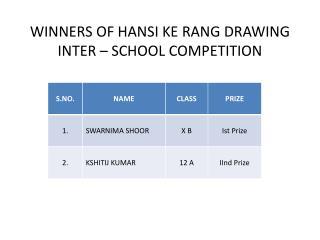 WINNERS OF HANSI KE RANG DRAWING INTER – SCHOOL COMPETITION