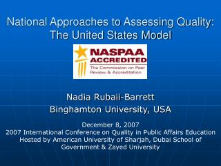 National Approaches to Assessing Quality: The United States Model