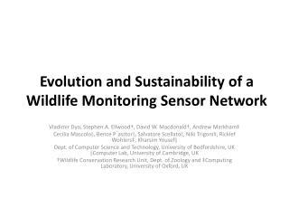 Evolution and Sustainability of a Wildlife Monitoring Sensor Network