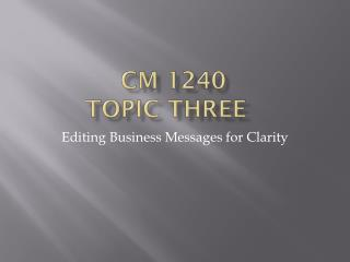 CM 1240 Topic Three