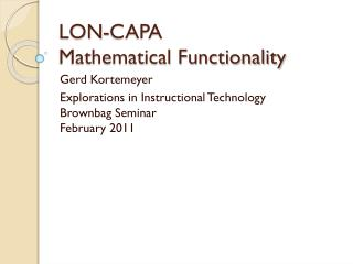 LON-CAPA Mathematical Functionality