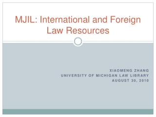 MJIL: International and Foreign Law Resources