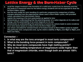 Lattice Energy & the Born-Haber Cycle