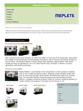 CNC Complex Automatic Lathe (MS03, MS07, MS20)