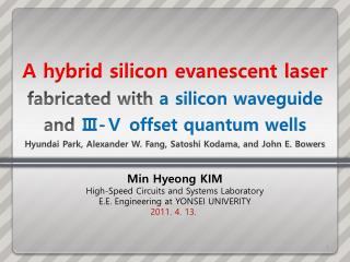 Min  Hyeong  KIM High-Speed Circuits and Systems Laboratory E.E. Engineering at YONSEI UNIVERITY