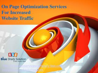 On page optimization services for increased website traffic: