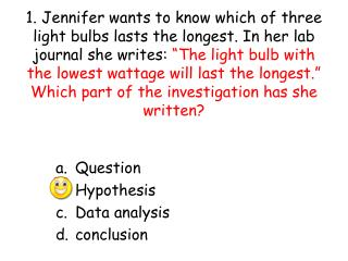 Question Hypothesis Data analysis conclusion