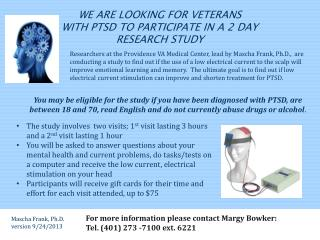 We are looking for Veterans  with ptsd to participate in a 2 DAY research study