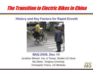 The Transition to Electric Bikes in China