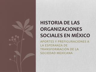 HISTORIA DE LAS ORGANIZACIONES SOCIALES EN M ÉXICO