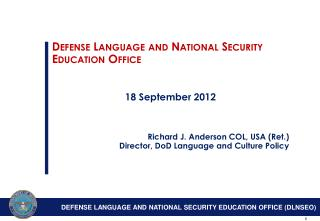 Defense Language and National Security Education Office 18 September 2012