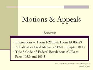 Motions & Appeals