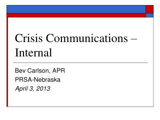 Crisis Communications – Internal