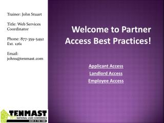 Welcome to Partner Access Best Practices!