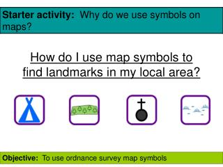 How do I use map symbols to find landmarks in my local area?