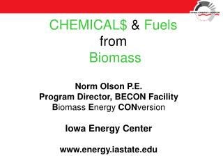 CHEMICAL$  &  Fuels from Biomass