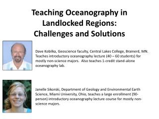 Teaching Oceanography in Landlocked Regions: Challenges and Solutions