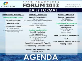 Thursday, January 17 Keynote Presentations: Carmen  Bianco
