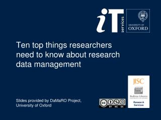 Ten top things researchers need to know about research data management