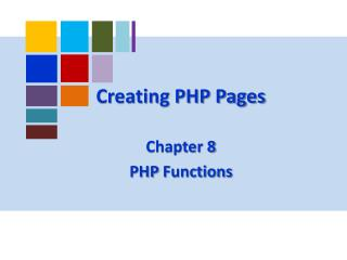 Creating PHP Pages