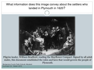 What information does this image convey about the settlers who landed in Plymouth in 1620 ?