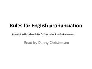 Rules for English pronunciation