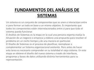 FUNDAMENTOS DEL ANÁLISIS DE SISTEMAS