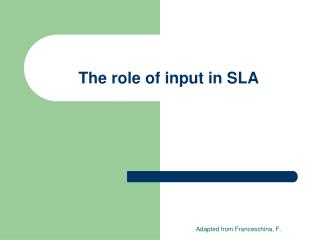 The role of input in SLA