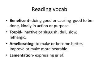 Reading vocab