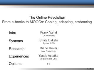 The Online Revolution From e-books to MOOCs: Coping, adapting, embracing