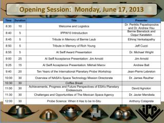 International Planetary Probe Workshop 10 | June 17-21, 2013 | San  Jose, California
