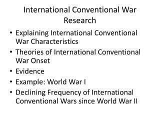 International Conventional War Research