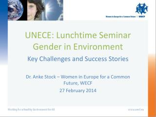 UNECE: Lunchtime Seminar Gender in Environment
