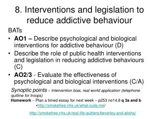 8. Interventions and legislation to reduce addictive behaviour