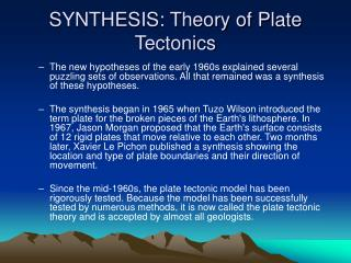 SYNTHESIS: Theory of Plate Tectonics