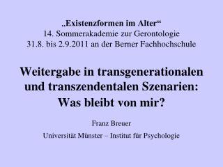 Franz Breuer  Universität Münster – Institut für Psychologie